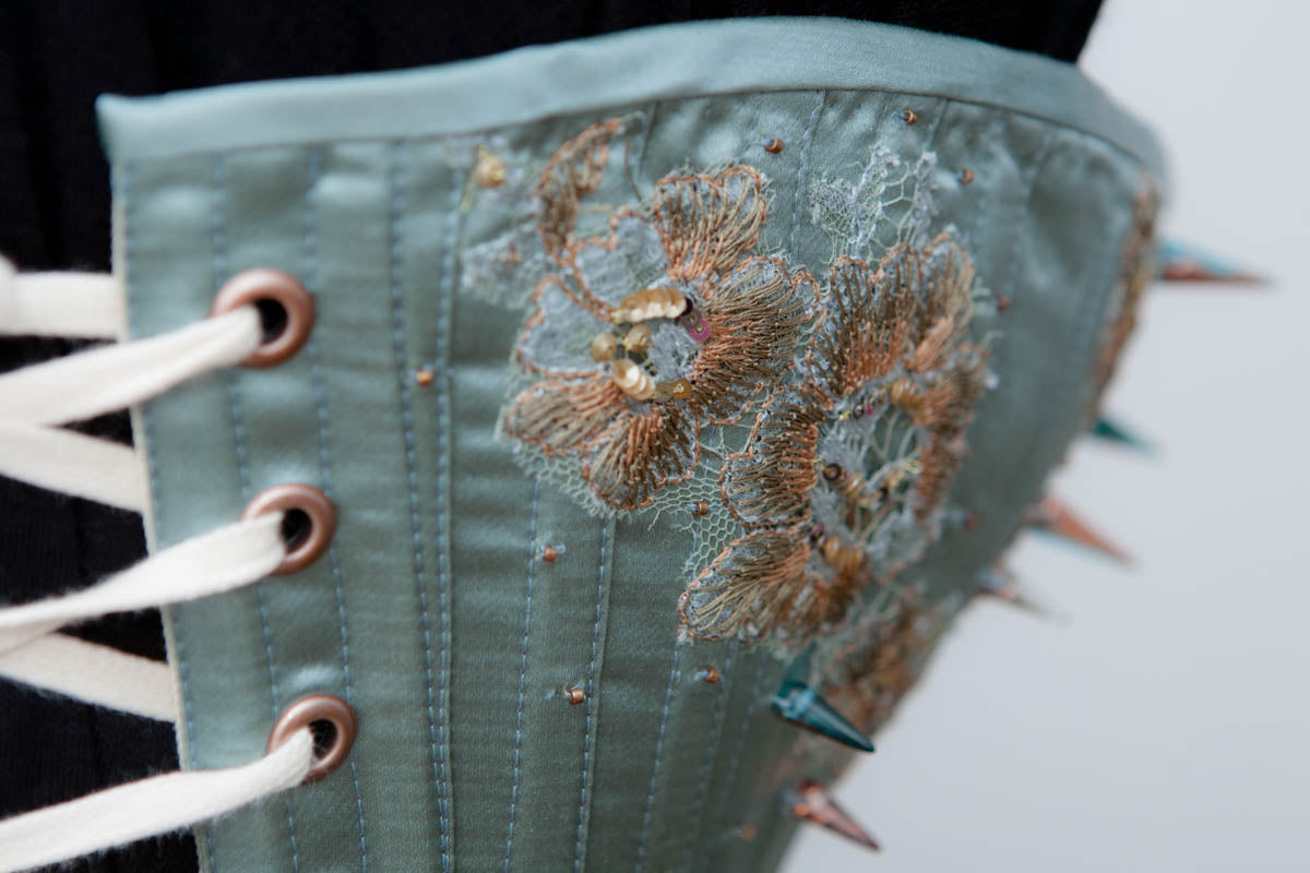 "SAMPLE 'Verdigris' Bird's Wing Satin Corset w/Lace Appliqué & Beading - 23"" Waist"