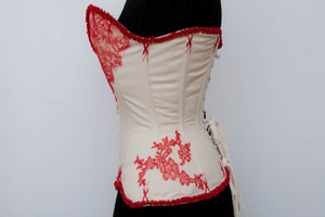 "SAMPLE Cream Coutil Plunge Corset w/ Lace Appliqué & Flossing - 23"" Waist"