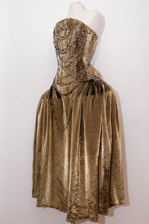 'Celestina' Corsetted Robe-De-Style Gown, In Silk Lurex With Draped Jewellery