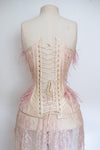 "SAMPLE Dusty Pink Lace Overlay, Ostrich Feather & Freshwater Pearl Embellished Duchesse Satin Corset With Skirt - 20"" Waist"