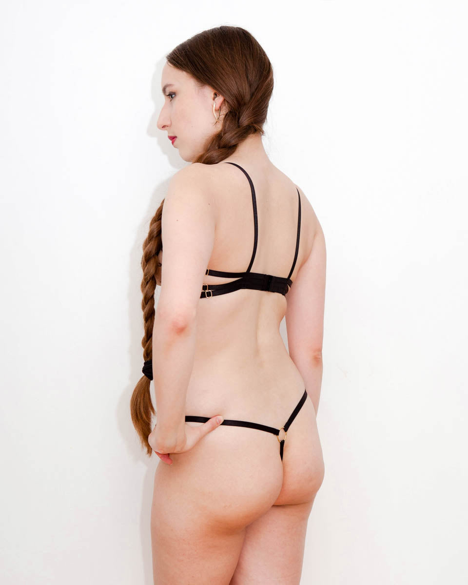 Strappy Embroidered Tulle Thong