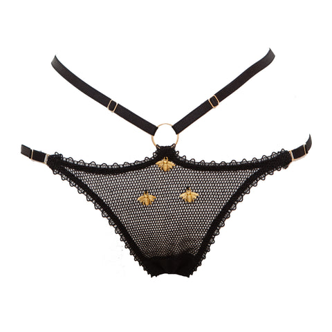 Miód Bobbinet Tulle & Bee Charm Harness Thong