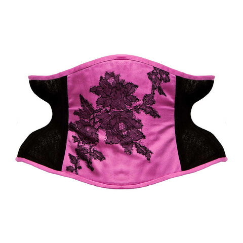 "Salacia Pink Silk & Tulle Waspie Corset - 20"" ONLY"