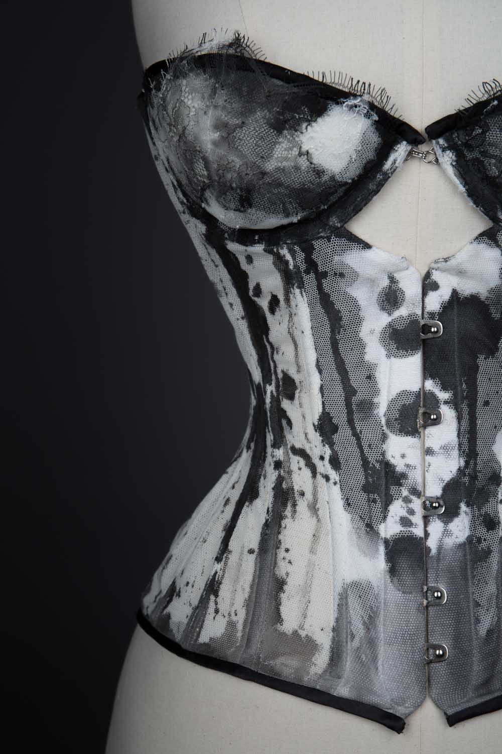 'Ink' Hand Painted Bobbinet Tulle Cupped Corset
