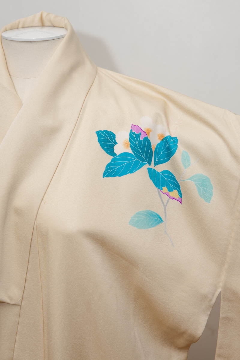 Vintage Pale Yellow Silk Kimono With Printed Blossom Motifs