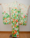 Vintage Green & Orange Floral Printed Silk Furisode Kimono With Cording Embroidery