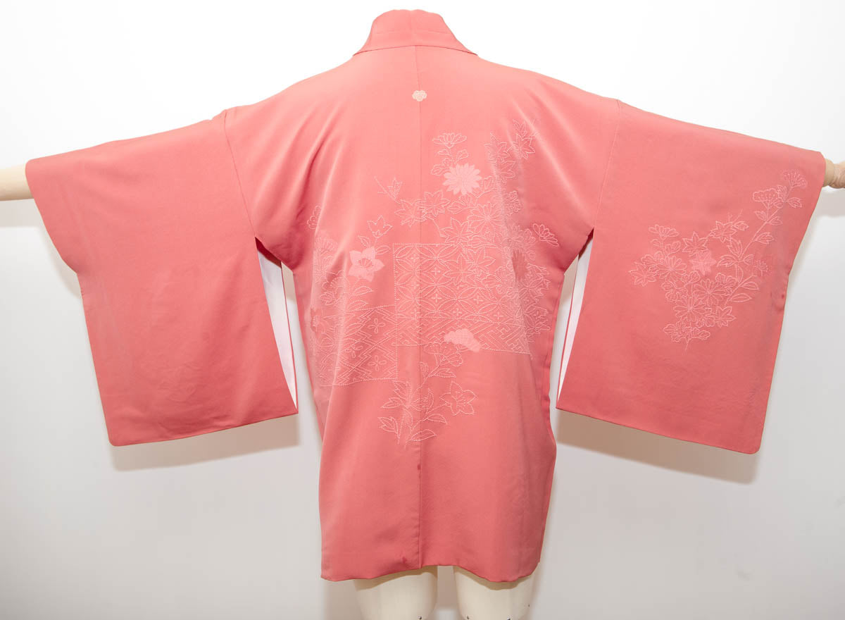 Vintage Coral Pink Silk Haori With French Knot Embroidery And Hand Painted Lining