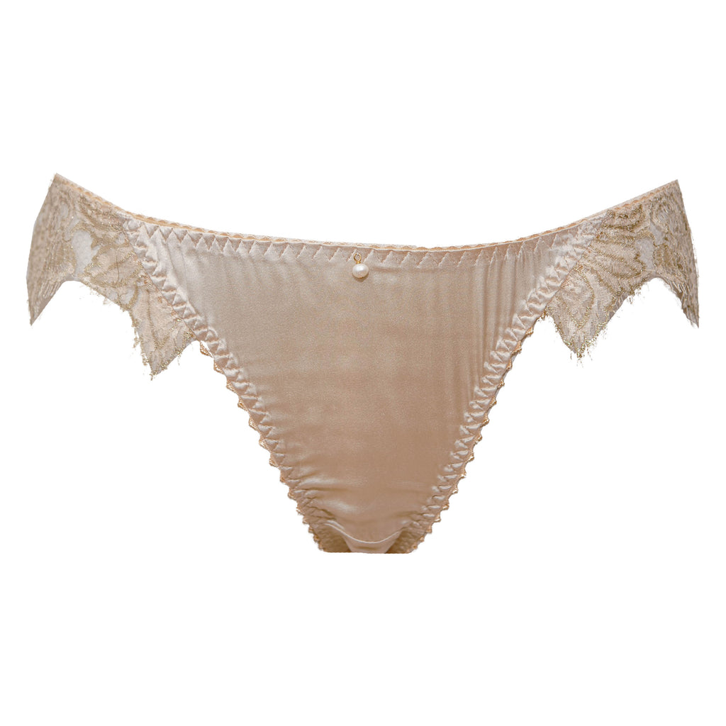 SAMPLE - Cassiopeia Redux Champagne Silk & Lace Briefs - Size UK 12