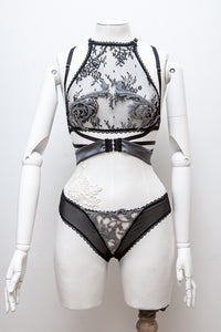 'Stoya' Bralet, Silk Tie Harness & Briefs With Wool Lace Appliqué