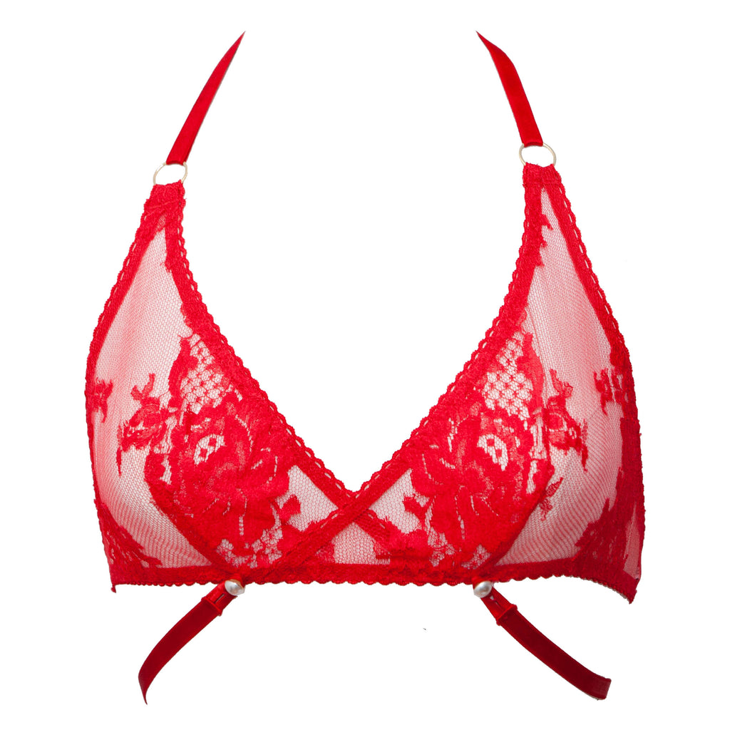 Lønn Red French Lace Bralet