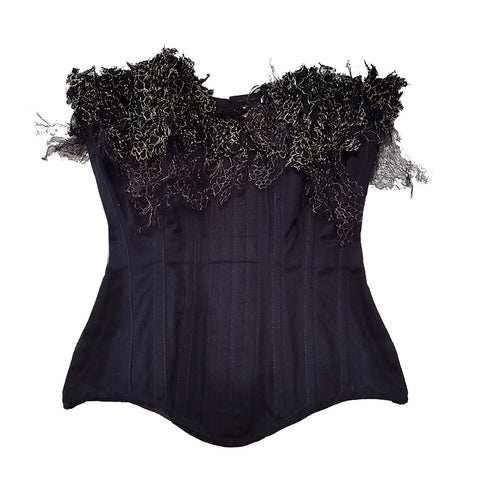 "SAMPLE Un|Seelie 1-piece Pattern Coutil Corset With Gold Lace Appliqué - 20"" Waist, UK 8-10"