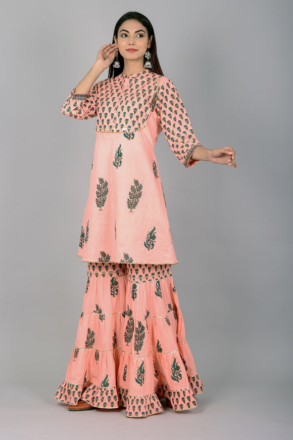 Cotton Floral Print Gota Embellished Kurti Sharara Set (Peach)