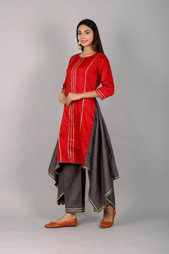 Silk Blend Asymmetrical Embellished Kurti and Palazzo Set