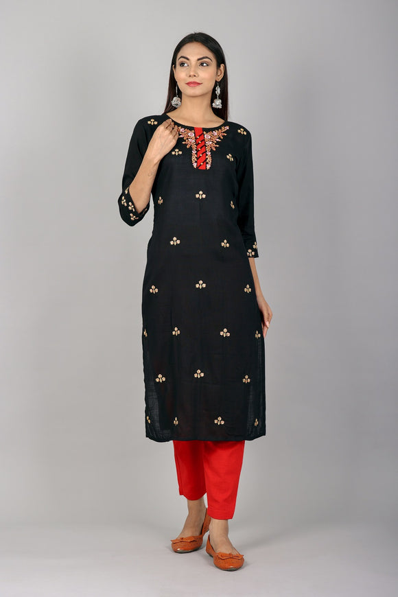 Rayon All-over Embroidered Straight Kurta (Black)