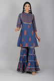 Cotton Floral Print Gota Embellished Kurti Sharara Set (Blue)