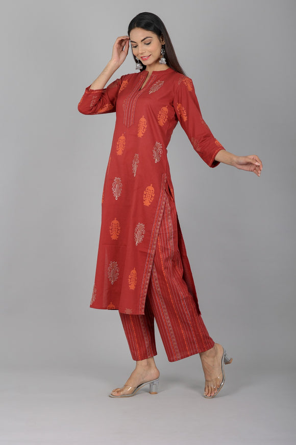 Cotton Floral Print Embellished Kurti and Palazzo Set (Maroon)