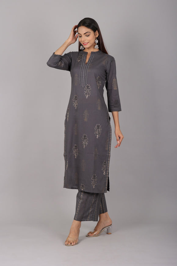 Cotton Floral Print Embellished Kurti and Palazzo Set (Grey)