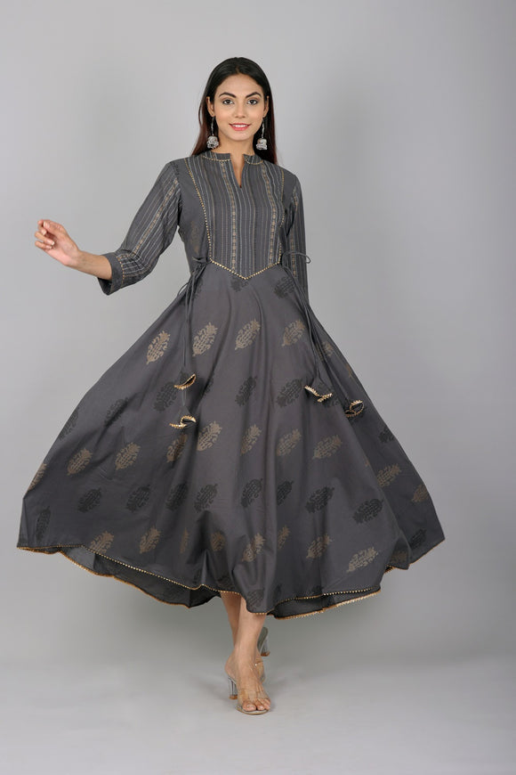 Cotton Floral and Stripes Print Flared Embellished Kurta - Grey