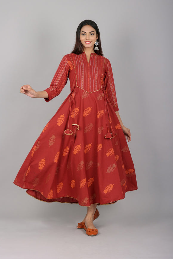 Cotton Floral and Stripes Print Flared Embellished Kurta - Maroon