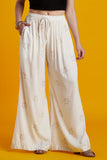 Rayon Hand-blocked White Flared Palazzo