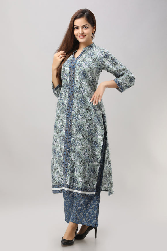 Cotton Kalamkari Floral Print Kurta, Palazzo and Dupatta Set