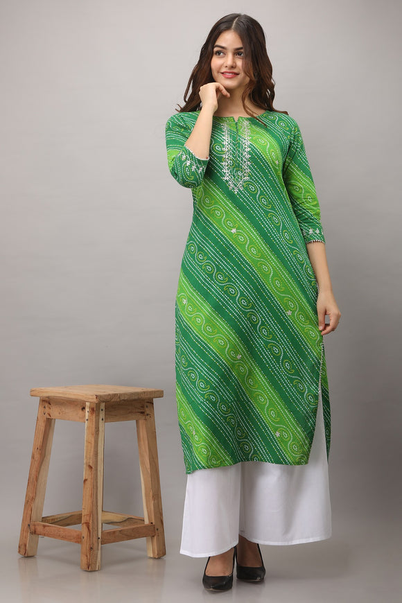 Lehariya Bandhej Print Embroidered Cotton Kurti (Green)