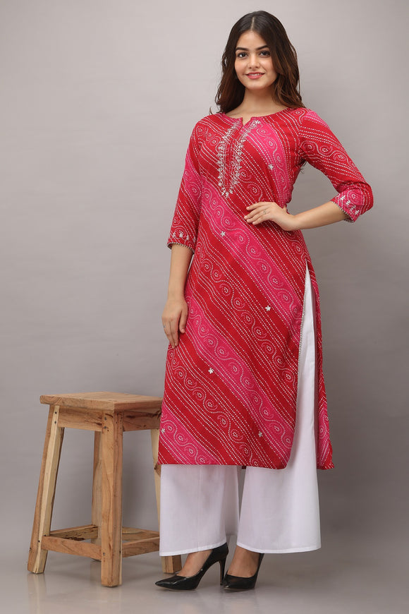Lehariya Bandhej Print Embroidered Cotton Kurti (Pink)