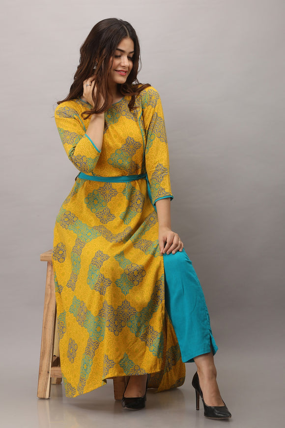 Rayon Abstract Print A-line Kurta with Pant