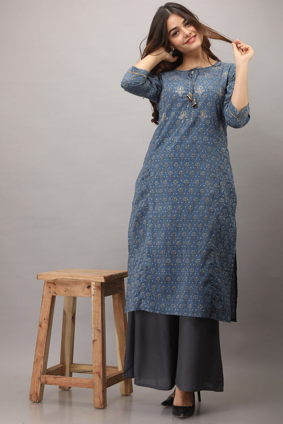 Cotton Floral Print Embroidered Straight Kurti (Blue)