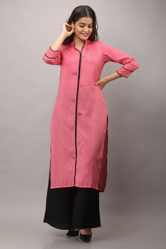 Cotton Blend Stripes Woven Embroidered Kurti (Pink)