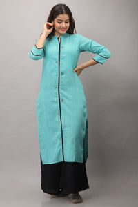 Cotton Blend Stripes Woven Embroidered Kurti (Blue)