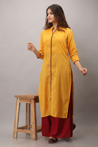 Cotton Blend Stripes Woven Embroidered Kurti (Yellow)