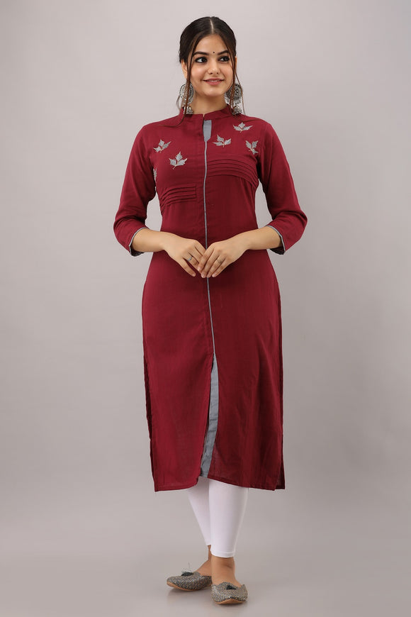 Cotton Slub Solid Embroidered Kurti (Maroon)