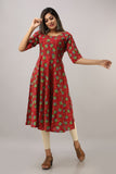 Cotton Floral Print Flared Mirror Work Kurti (Red)