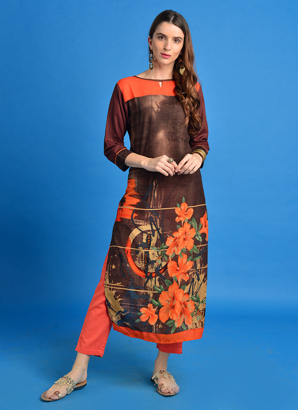 Rayon Floral Print Straight Kurta (Brown)