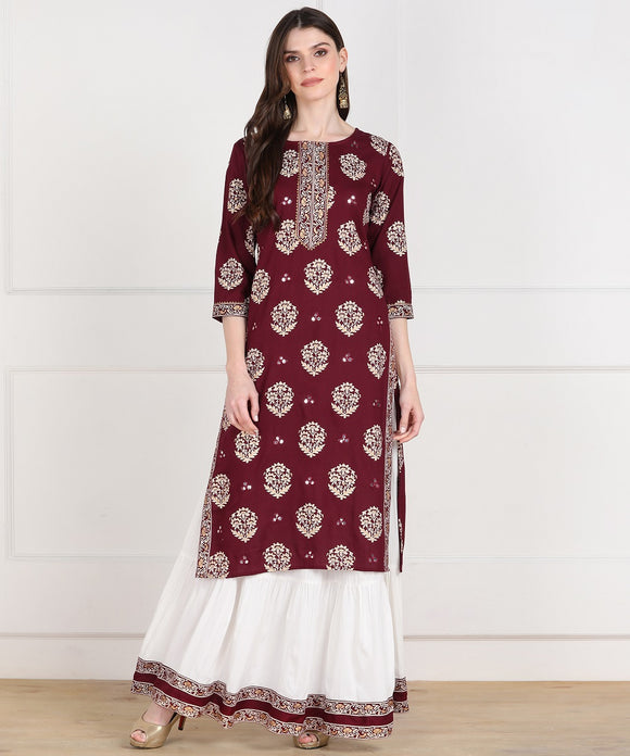 Rayon Floral Print Aari Embroidered Kurta and Skirt Set (Maroon)