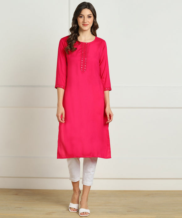 Rayon Straight Mirror Embroidered Kurti (Pink)