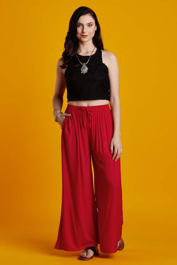 Rayon Solid Red Flared Palazzo