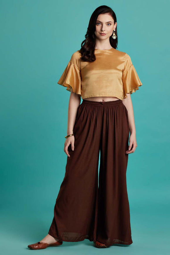 Rayon Solid Brown Flared Palazzo