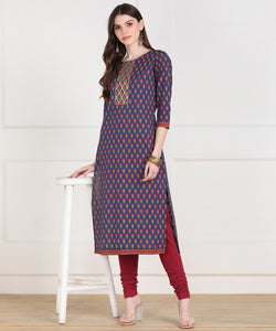 Cotton Floral Print GotaWork Straight Kurta (Blue)