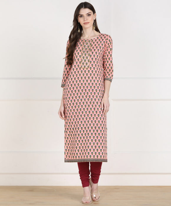 Cotton Floral Print GotaWork Straight Kurta (Peach)