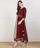 Rayon Flared Embellished Kurta with Gold Print Dupatta - Maroon