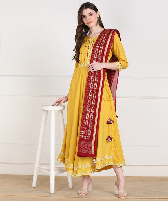 Rayon Flared Embellished Kurta with Gold Print Dupatta - Mustard