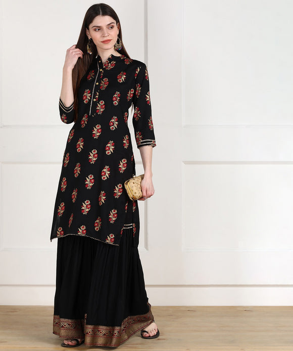 Rayon Floral Gold Print Kurta with Sharara Set - Black