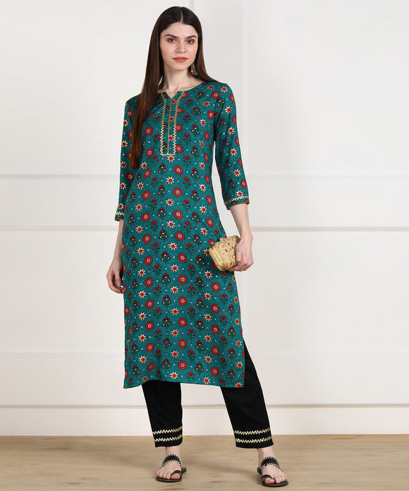 Rayon Ethnic Foil Print Embellished Kurta and Pant Set - Teal