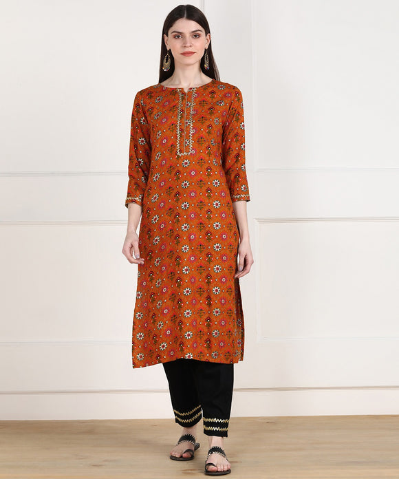Rayon Ethnic Foil Print Embellished Kurta and Pant Set - Mustard