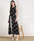 Rayon Leaf Print High Slit Cape Kurta - Black