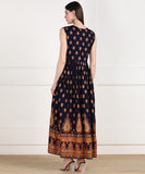 Rayon Ethnic Printed Pleted Sleeveless Kurta Dress - Dark Blue