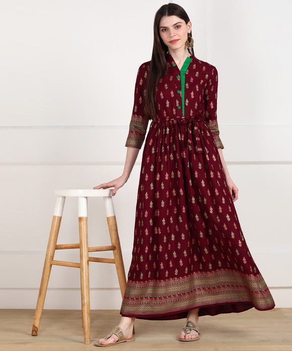 Rayon Printed Floor Length Ethnic Dress - Maroon
