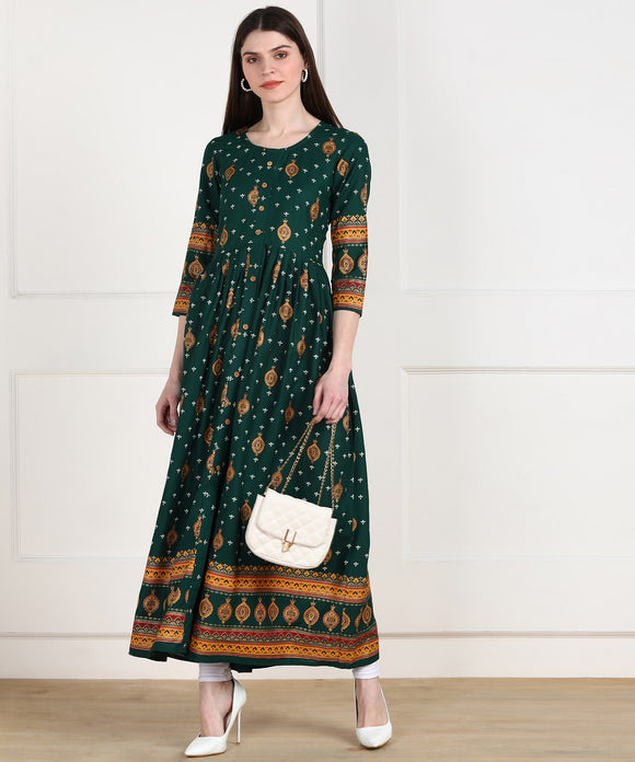 Rayon Ethnic Print Floor Length Dress - Dark Green
